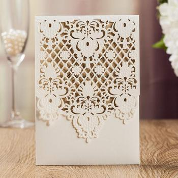 50Pcs White Floral Laser Cut Wedding Invitations Card with Envelope, Elegant Invitation Card, for Wedding Birthday Quinceanera