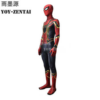 High Quality 3D Print Infinity War Iron Spider Cosplay Costume With Golden Details Tom Iron Spider Costume Fullbody Zentai Suit