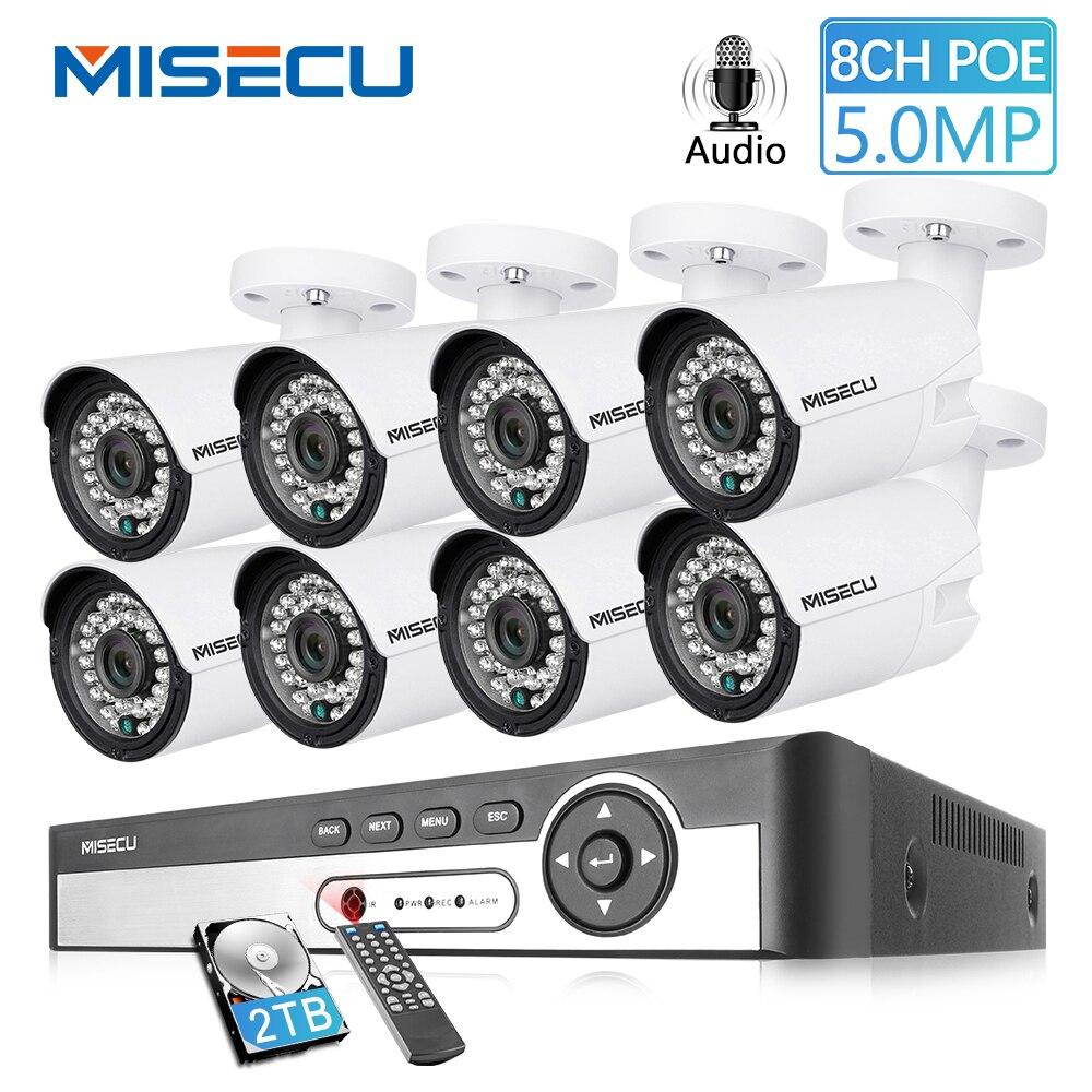 MISECU H.265 48 V 8CH POE CCTV Sistema 4.0MP P2P Outdoort Impermeável Bala IP POE Câmera De Segurança De Gravação de Áudio Vigilância kit