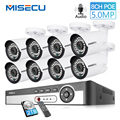 MISECU H.265 48 V 8CH POE Cctv-systeem 4.0MP Bullet IP POE Security Camera Audio Record Outdoort Waterdichte P2P Surveillance kit