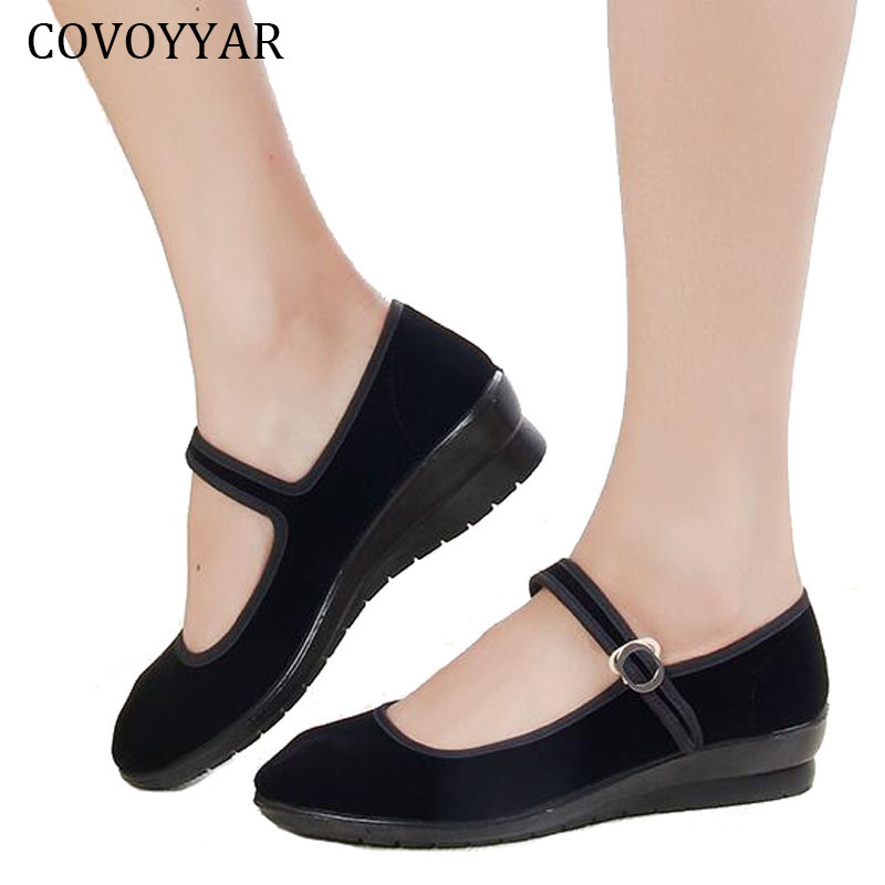 2019 Mary Janes Ladies Flats Buckle Strap Comfortable Women Shoes Round Toe Solid Casual Shoes Plus Size 34~41 Black WFS508(China)