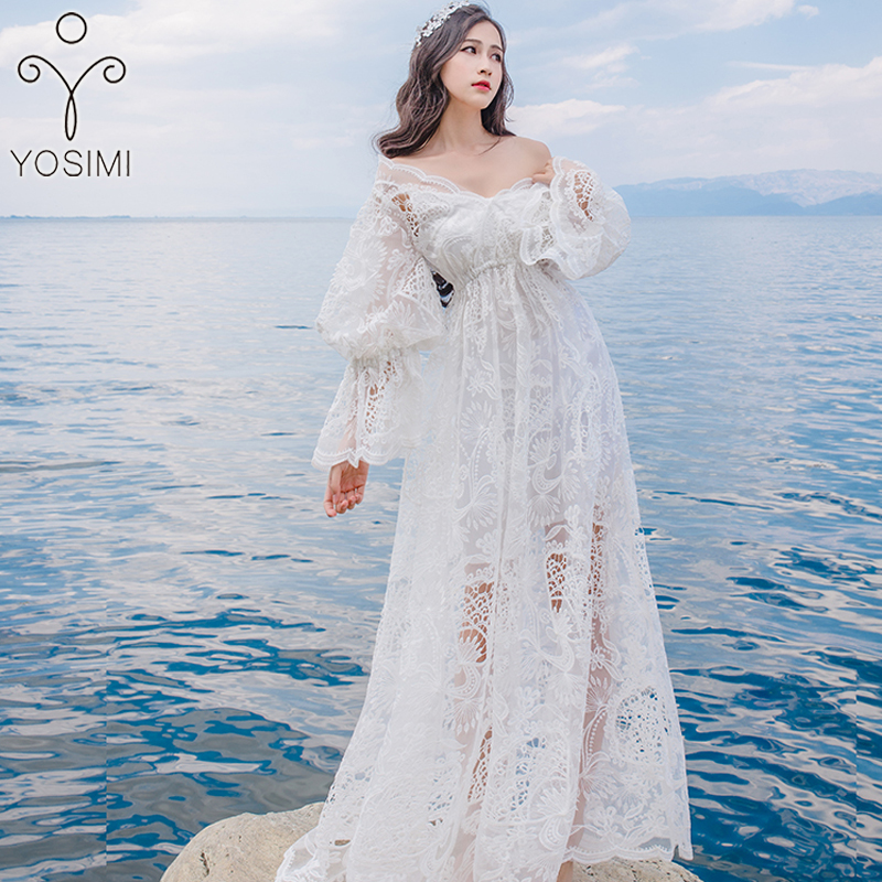 YOSIMI 2019 Summer Maxi Ladies Party Dress White Lace Long Women Dresses Female Vestidos Tunic Long Sleeve V-neck Ankle-Lenght