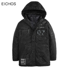 EICHOS 2017 Winter Thick Padded Parka Men Jacket Windproof Breathable Warm Tow Pieces A Lot Casual Fashion Printed Long Coat