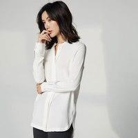 100% натуральный тяжелый шелк одноцветное Цвет блузки с разрезом для размер 40 м Модные Качественные блузки Для женщин женские шелковые рубаш