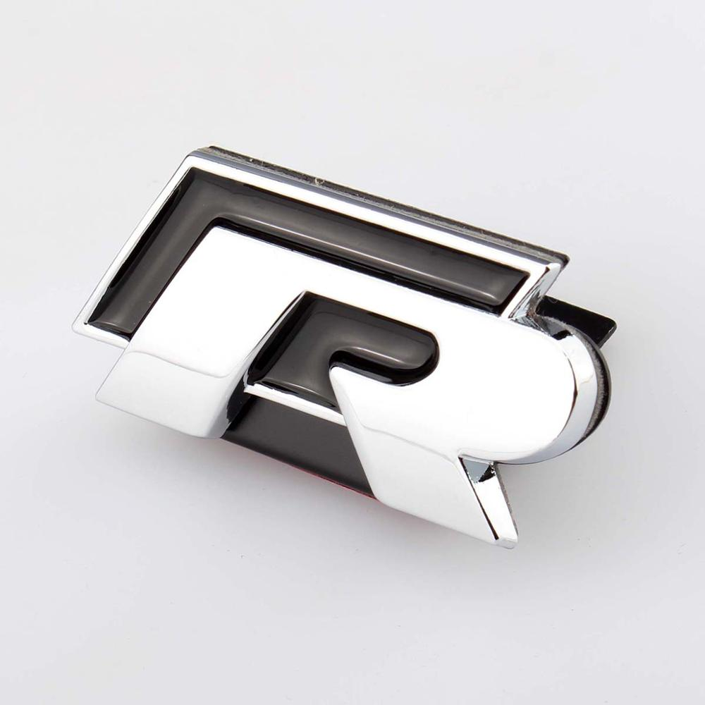 3D Car Sticker Front Grill Logo Badge Decal Chrome Emblem R For VW Golf Jetta Passat Touareg Tiguan