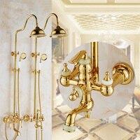 2 Style gold plated jade rain shower faucet mixer tap, Brass diamond shower faucet head set, Bathroom shower faucet wall mounted