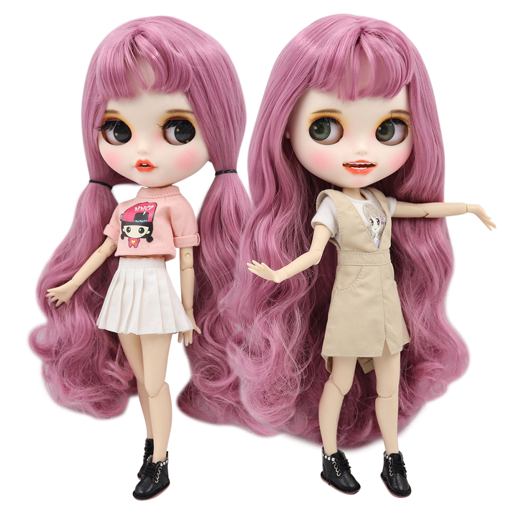 ICY factory blyth doll 1 6 bjd white skin joint body pink hair with bangs new