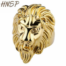 HNSP Hip Hop Rock Gold Lion Head Ring For Men Animal Finger Rings Male Punk Biker Jewelry(China)