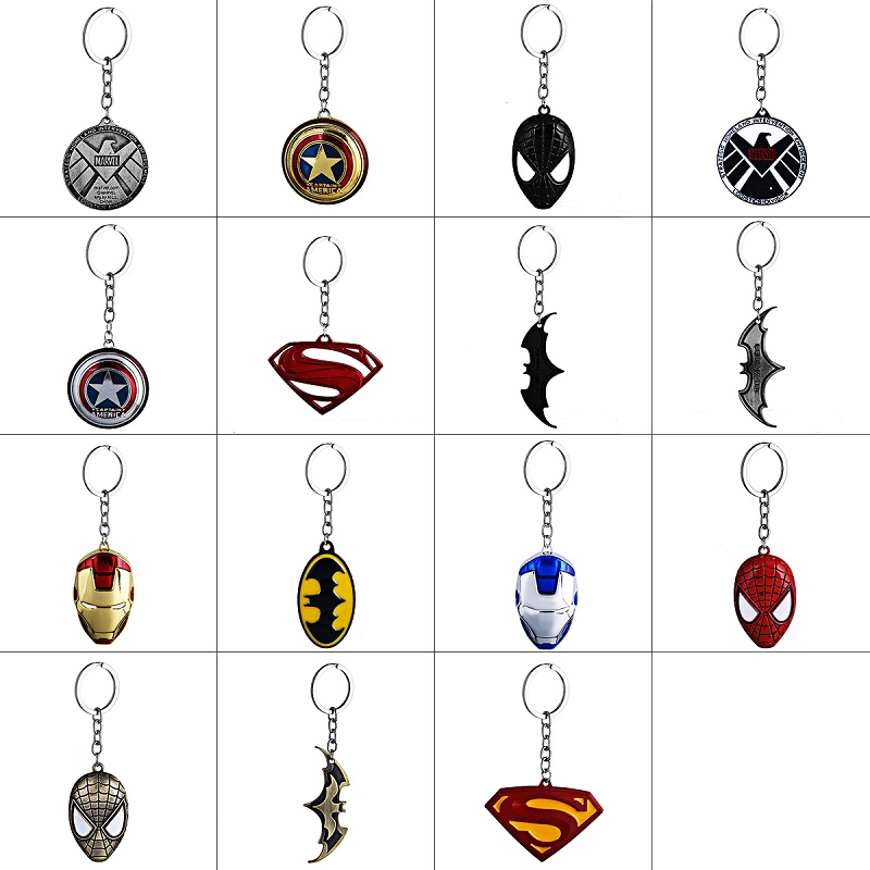 DC Marvel Comic Super Hero Series Keychain High Quality Metal Spider-Man Superman Shield Batman Mask Iron Man Key Chain Ring simba водный пистолет simba пожарный сэм 17см