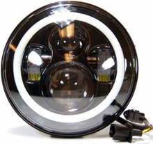7'' LED Headlight with White/amber Halo Ring Replacement for Motorcycles