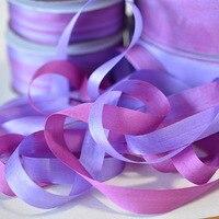 2937 пестрые (Роза фиалка-Aster фиолетовый) 100% реального чистого шелка Вышивка лентами, двусторонний материал тонкий тафта шелковая лента 2-32 мм