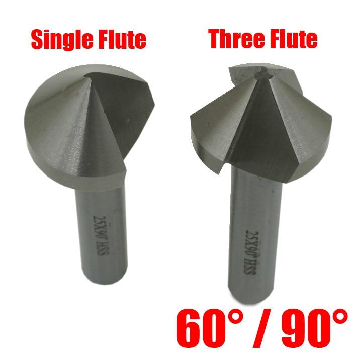 14mm 16.5mm 18mm 20.5mm High Speed Steel HSS 60 90 Degree Single One Three Flute Edge Chamfer Cutter Mill Countersink Drill Bit