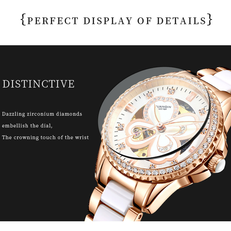 GUANQIN 2019 watch women Automatic Rhinestone Dress top brand luxury ceramics rose Mechanical watch waterproof bayan kol saati