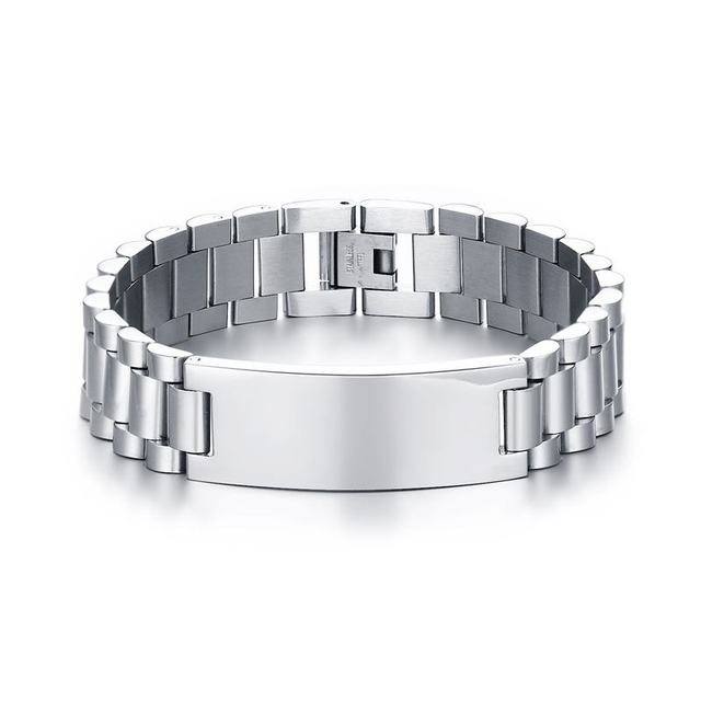 Fashion Mens Bracelets Stainless Steel Designer Made Scratch Resistant Id Bracelet For Men Free Engraving Armband