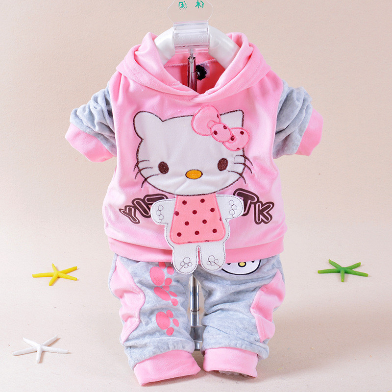 Baby Girls Clothing Set Cartoon Hello Kitty 2016 Winter Autumn Children Clothing Casual Tracksuits Kids Clothes Girls