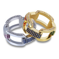 High quality hip hop men's new micro inlaid zircon ring color zircon chain ring new year gift