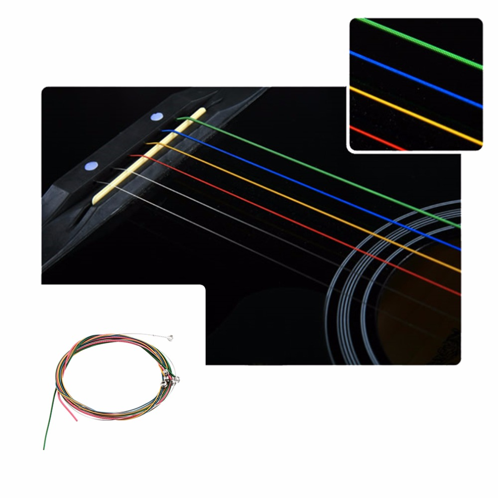 2016 Multi Color 1-6 E B G D A E Rainbow Colorful Strings Set for Acoustic Guitar new arrival colorful classical guitar strings colorful nylon colorful coated copper alloy wound 0285 044 inch alice a107c