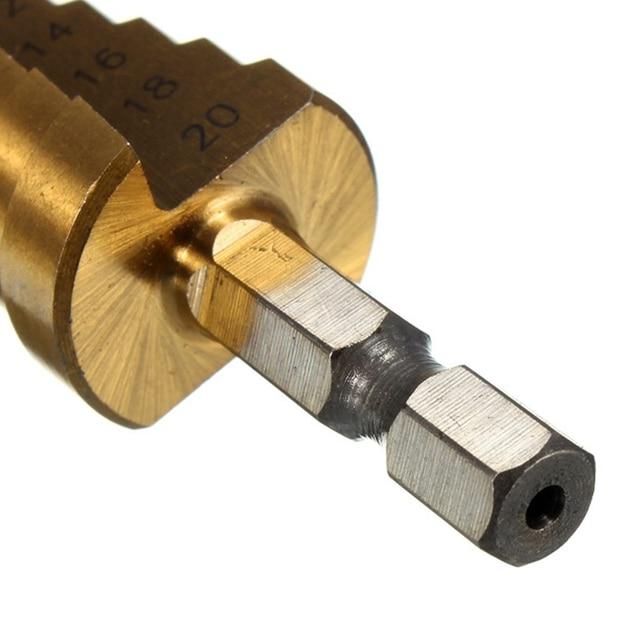 Metalen Boor 4-12/20/32 Mm Stap Boor Rechte Fluit Hss Staal Cone Titanium Coated mini Boor Tool Set Hole Cutter