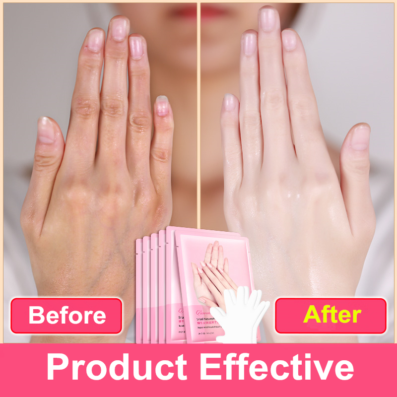 1pair=2pcs Snail Serum Extract Moisturizing Hand Mask Super Smoothing Whitening Exfoliating Mask Gloves Anti-Aging Hand Care