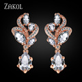 ZAKOL Trendy Rose Gold Plated Women Earring Unique Flower Shape CZ Diamond Earrings For Wedding FSEP263