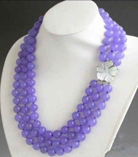 Bjc 0002299 3行8 ミリメートル紫色の碧玉の ネックレス 17-19 」