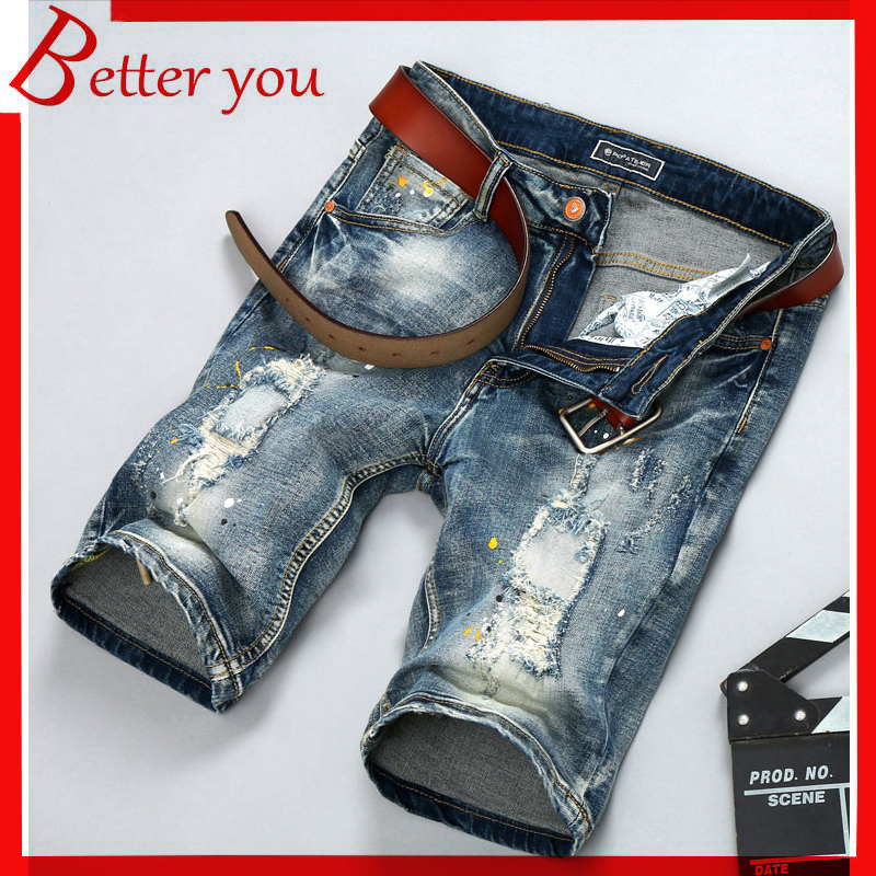 2019 Summer New Men's Stretch Short Jeans Fashion Cropped Pants Color Print Jeans Pierced Jeans Nostalgic Washed Denim Men Jeans