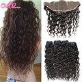 Vip Beauty Hair Lace Frontal Closure With Bundles Water Wave Malaysian Lace Frontal Closure Virgin Hair Human Hair Bundle Deals