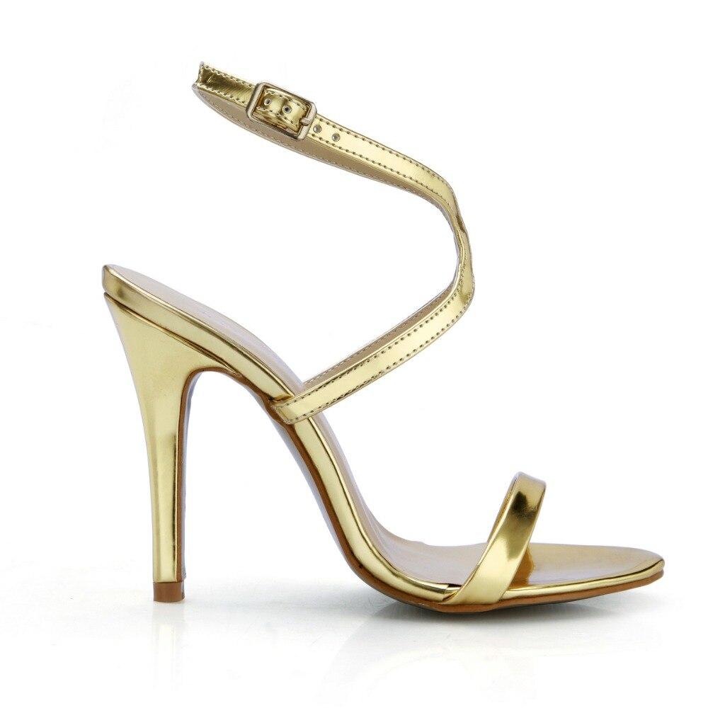 Étroite Une Show Concise Talons Boucle D'été Femmes Gladiateurs Luxe Sandales Chaussures Stiletto De Or Haute Hauts As Bande Femme Lady 1f7tv