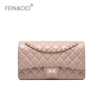 621e98e43c4b Роскошный бренд цепи двойной лоскут Сумка 100% натуральная кожа овчины  женская классическая сумка на плечо сумки красный черный бежевый розо.