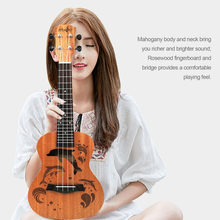 21/23 Inch Professional Sapele Dolphin Pattern Ukelele Guitar Mahogany Neck Delicate Tuning Peg 4 Strings Wood Ukulele Gift NEW(China)