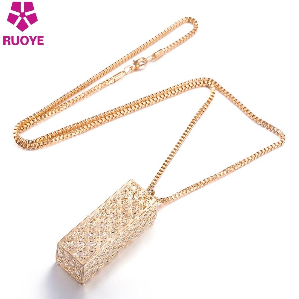Módní šperky ženy náhrdelník přívěsek řetězu křišťál Choker robustní prohlášení Bib Cuboid dutý design svetr řetěz