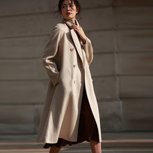 Fashion Winter Wool Woman Coat Solid Coat With Belt Turn-down Collar Double Breasted Overcoat A-Line Outwear Jacket XS S M L double breasted belt epaulet design turndown collar wool coat