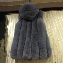 natural real Fox Fur Vests Hoody for women winter jacket thick warm fashion 2016 long genuine fur waistcoat red gray coat jacket