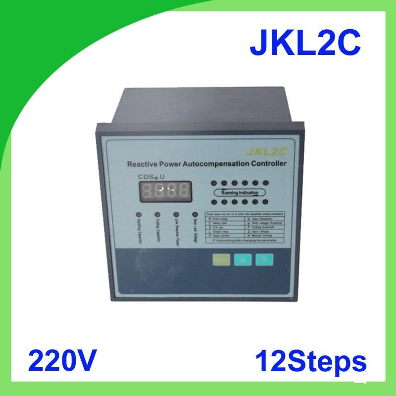 JKL2C avec alimentation 220 v 12 étapes contrôleur de compensation de facteur de puissance réactive 50/60Hz pour appareillage