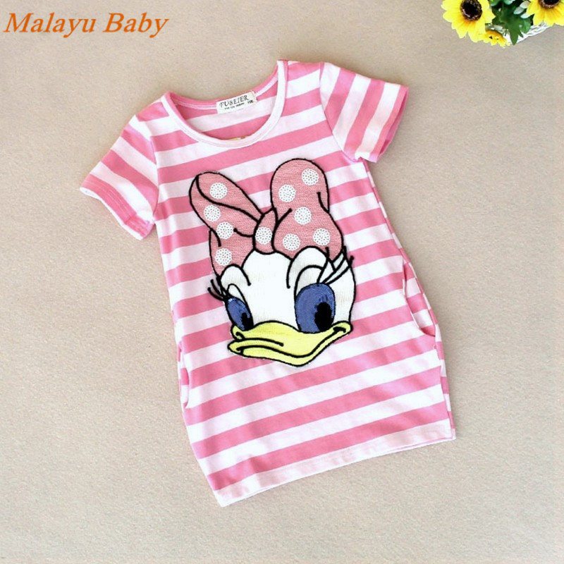 Malayu-Baby-2016-latest-summer-girls-striped-dress-children-cartoon-Donald-Duck-the-two-sides-in-my-pocket-dress-2-7-years-A122-5