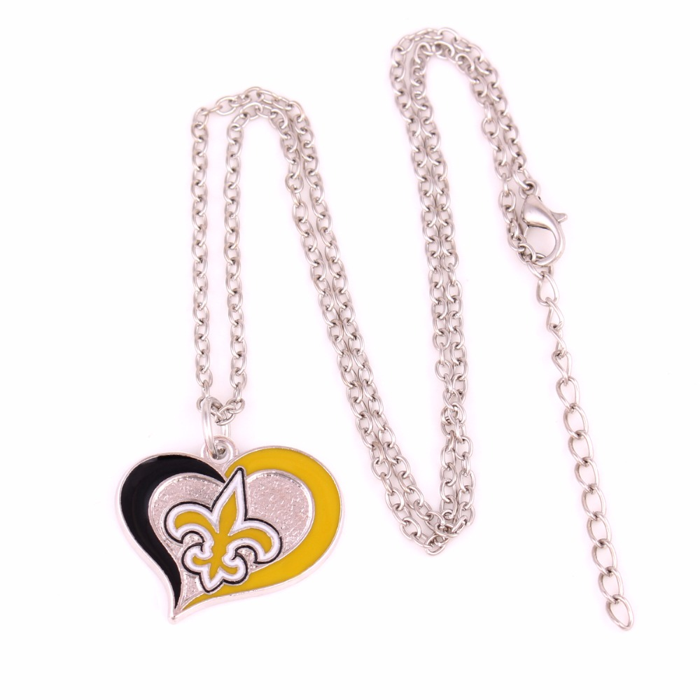 Aliexpress buy drop shipping enamel single sided new orleans aliexpress buy drop shipping enamel single sided new orleans saints swirl heart football team logo charm with link chain sport necklace from reliable biocorpaavc