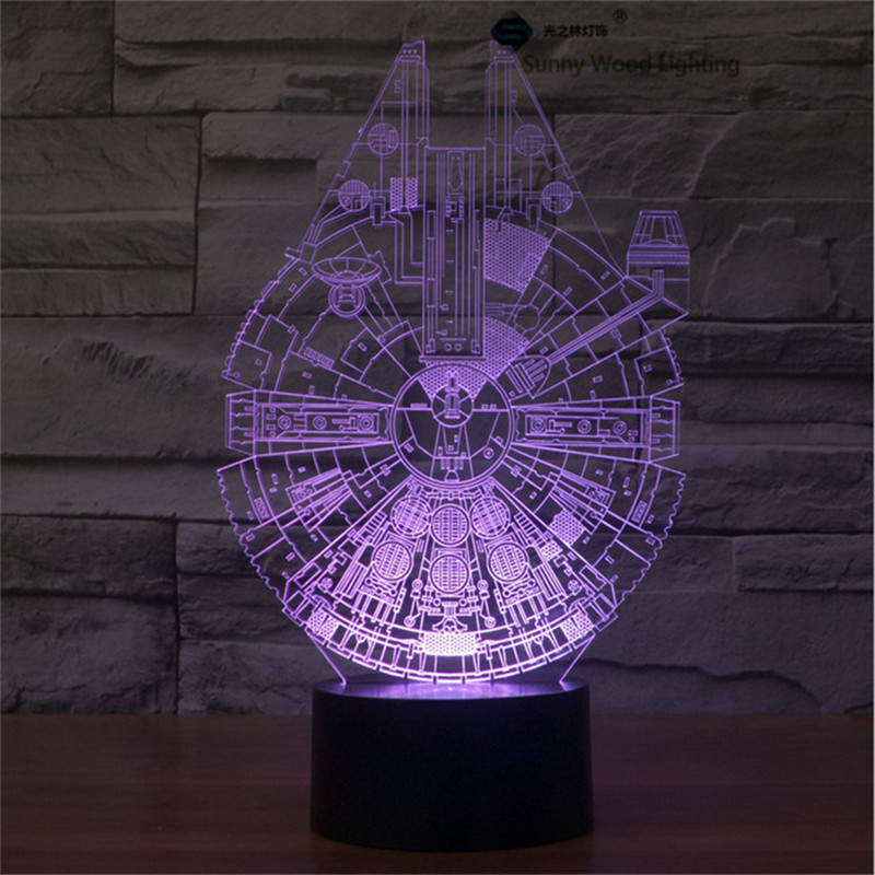 Millennium Falcon star wars touch switch LED3D lamp,Visual Illusion 7color changing 5V USB for laptop,Christmas cartoon toy lamp
