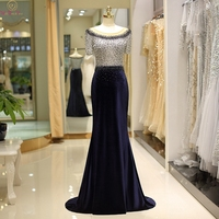 Velour Evening Dress Beading Top O neck Short Sleeves Vintage Sweep Train Mermaid Sex Elegant Nay Blue Real Formal Prom Gown