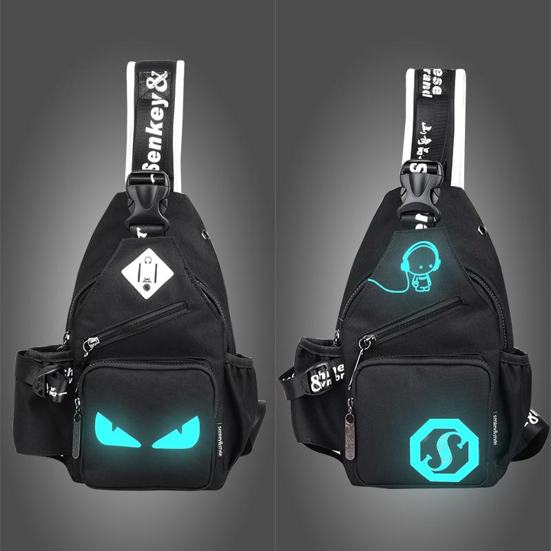 Senkey style 2017 Fashion Luminous Men's Chest Pack Women Messenger Bag Teenagers Mens Shoulder Bags Casual Men's Travel Bags