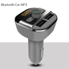 Car mp3 Bluetooth hands-free calls FM transmitter Wireless music player Support TF / U disk Dual USB Car Charger Mobile General