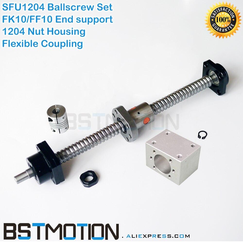 1204 Ballscrew set 161 200 300 400 500mm 561mm with SFU1204 Ballnut Nut Housing FK10 FF10