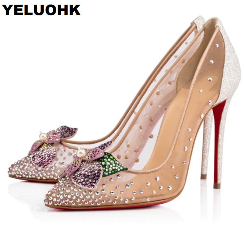 Brand New Flower Sexy High Heels Wedding Shoes Woman Pumps Pointed Toe Summer Shoes Woman Pumps Rhinestone Shoes Women prova perfetto new women pumps high heels rhinestone flower wedding shoes woman sexy high heels party shoes sweet princess shoes