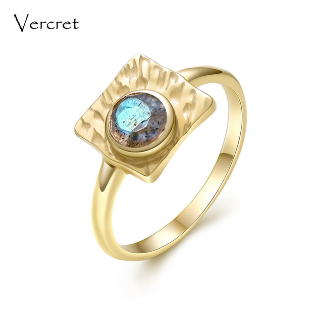 Vercret vintage labradorite ring handmade 925 sterling silver with 18k gold fine jewelry for women gifts sp