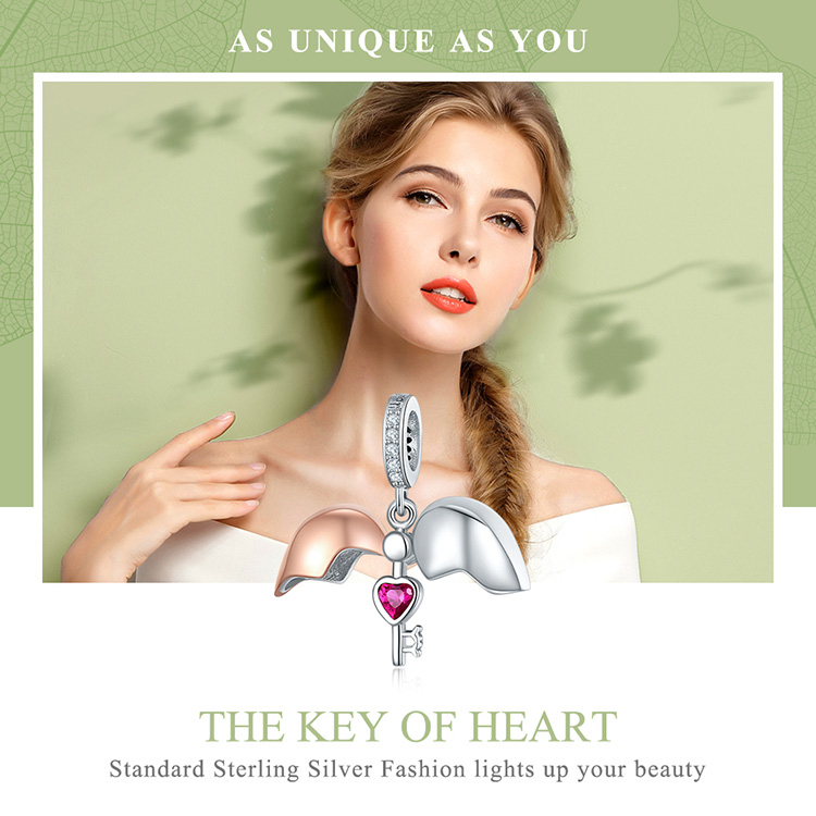 WOSTU Hot Sale Pure 925 Sterling Silver Open Heart Rose Gold Key Charms Beads Fit Bracelet Necklace DIY Jewelry Fashion CQC844