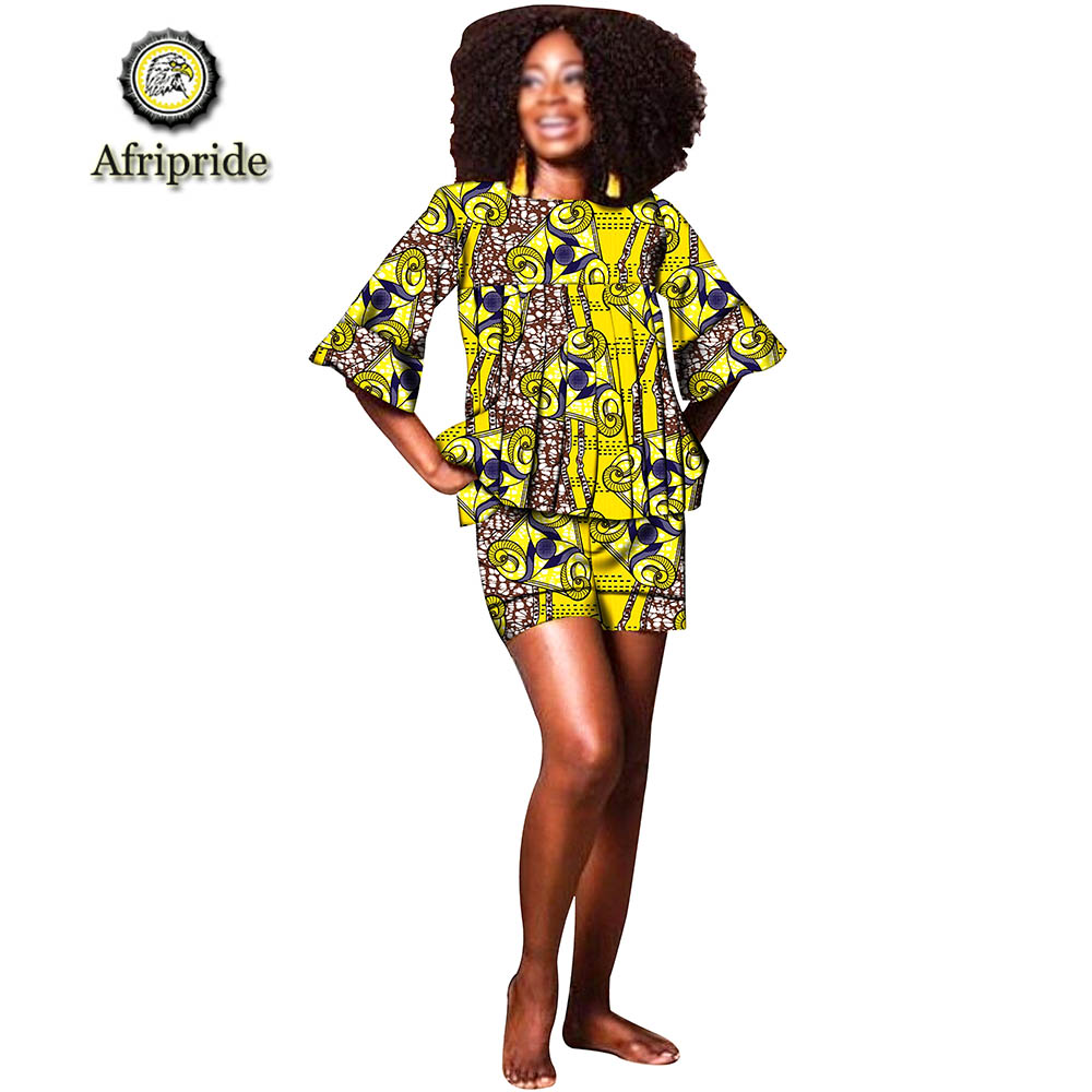 2019 AFRIPRIDE الملابس الأفريقية لسيدة طباعة Dashiki رداء علوي (توب) مع سروال قصير س الرقبة نصف الأكمام يزين الدعاوى للنساء S1926010-في مجموعات نسائية من ملابس نسائية على  مجموعة 1