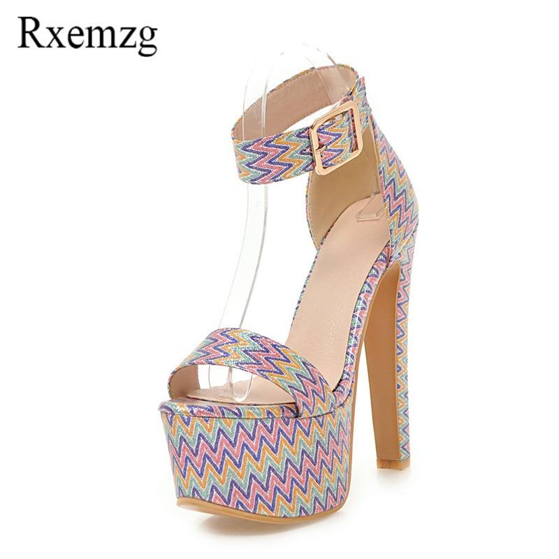 dedcb6cdc4b539 bleu Ouvert rose Plate Mode Mélangée La Femmes Talons 2018 Sandales À Noir  Couleur Bride Dames Bout Partie Chaussures ...