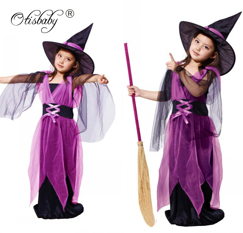 Christmas Girls Halloween Cosplay Witch Costume Props Decoration Dress with Hat Kids Party Clothes 2Pcs Children Clothing Set devil may cry 4 dante cosplay wig halloween party cosplay wigs free shipping