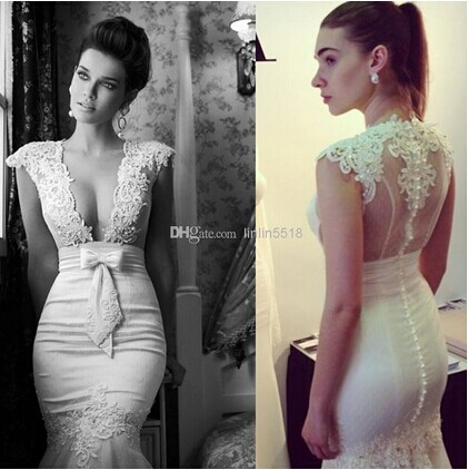 New 2014 Sexy Mermaid Wedding Dresses Sheer Capped Lace