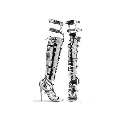 Big Size 10 Cheap Price Hottest Gold Silver Patent Leather Gladiator Sandals Boots For Women Cut-out Knee High Sandals Boots