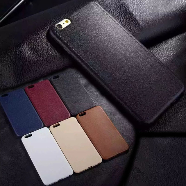 Luxury Bumper case On The For Apple iPhone 5 5S SE 6 6S 7 Plus Soft TPU Silicon Thin Imitation Leather Cover Cases Bags